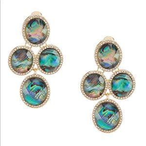 Ann Klein Oval Stone Chandelier Clip Earrings